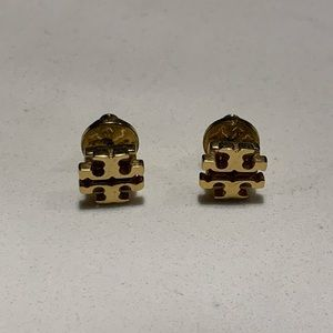 Tory Burch logo stud earrings in gold.